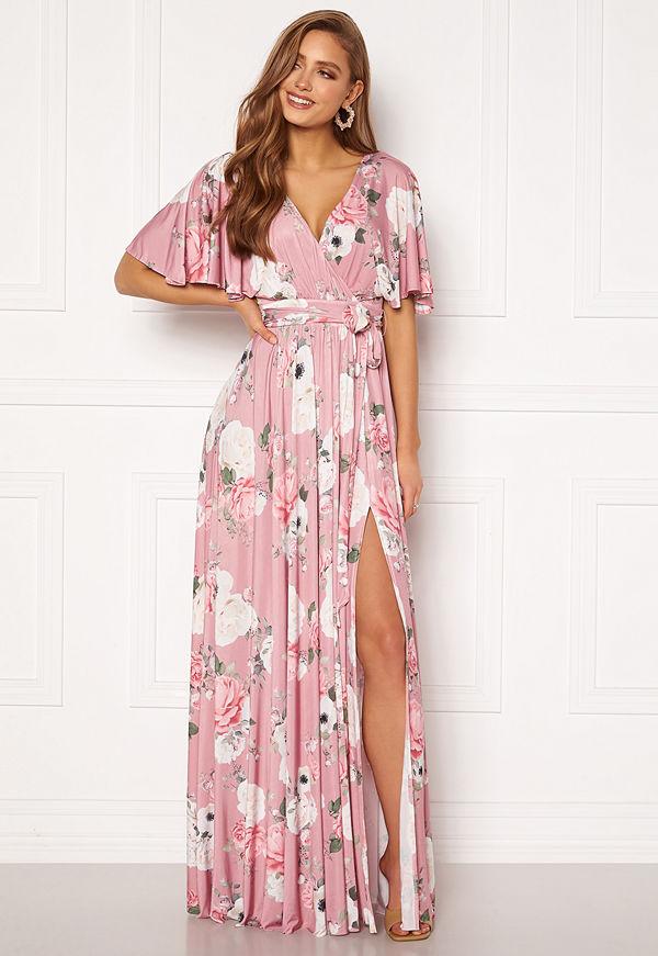 Goddiva Floral Flutter Sleeve Maxi Dress Blush