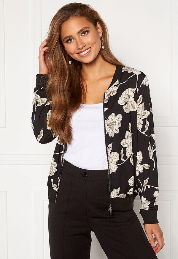 Happy Holly svart bomberjacka med tryck Hanna bomber jacket