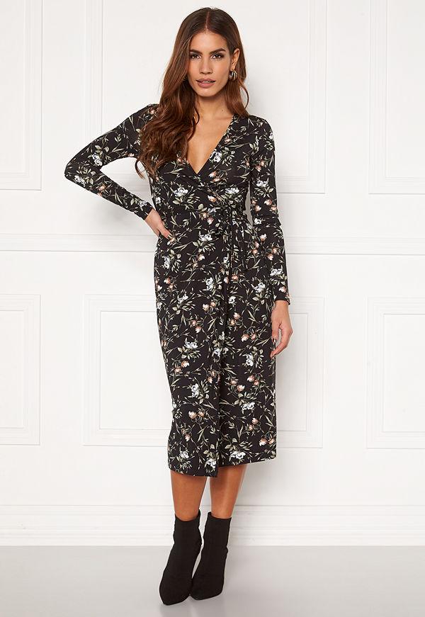 Chiara Forthi Sonnet wrap midi dress Black / Floral