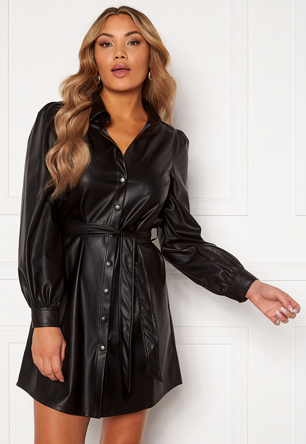 Chiara Forthi Faye faux leather shirt dress