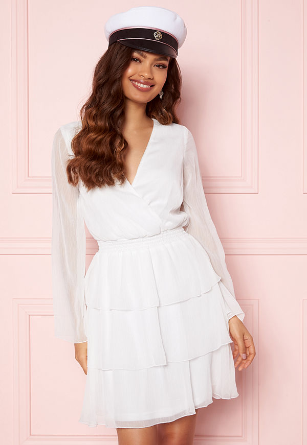 Bubbleroom Alina Frill Dress White