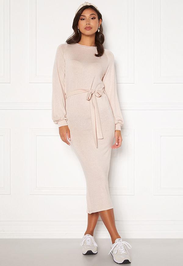 Bubbleroom Amira fine knitted dress Beige melange
