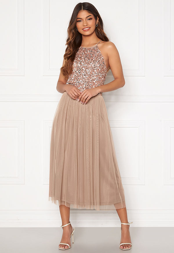 Angeleye High Neck Sequin Midi Dress