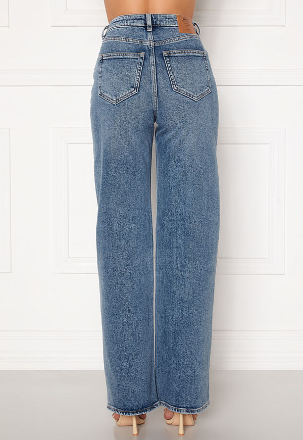 Only Juicy HW MB Wide Leg Jeans Medium Blue Denim