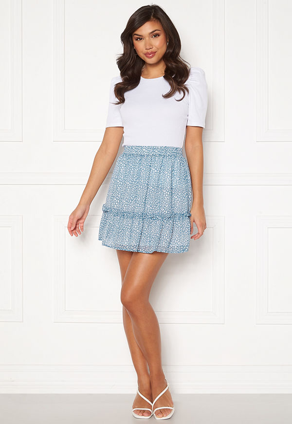 Rut & Circle Vivian Skirt Mid Blue/ White Leo