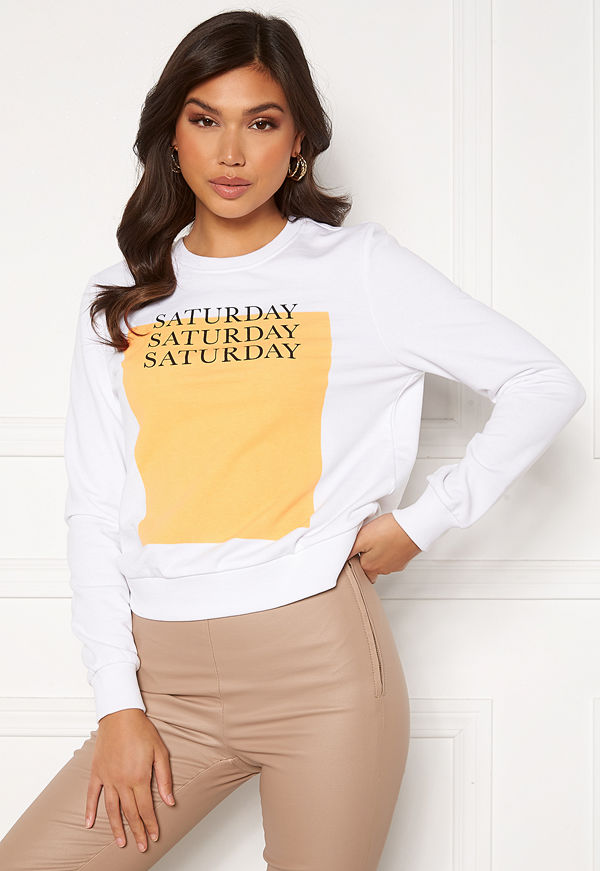 Only Weekday Life Reg L/S O-Neck SWT Bright White Saturda