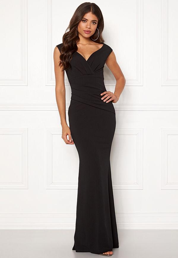 Goddiva Bardot Pleat Maxi Dress Black