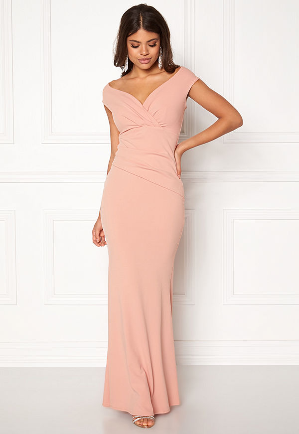 Goddiva Bardot Pleat Maxi Dress Nude