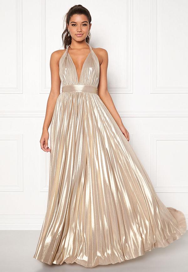 Goddiva Deep V Neck Metallic Dress Gold