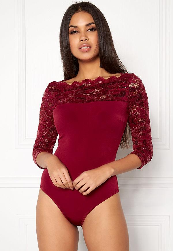 Goddiva 3/4 Lace Sleeve Bodysuit Wine