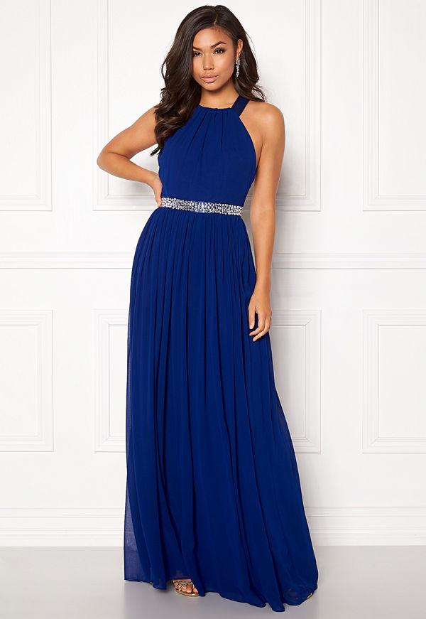 Goddiva Halterneck Chiffon Maxi Dress Royal