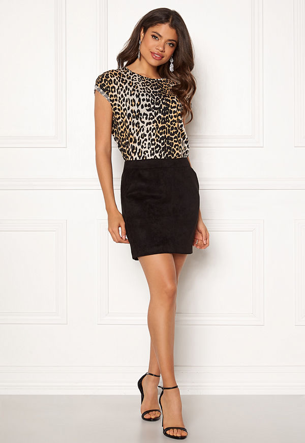 Vero Moda Donna Dina Short Skirt Faux Suede Black