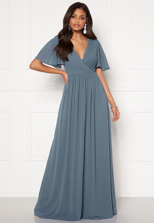 Moments New York Liana Chiffon Gown Grey-blue