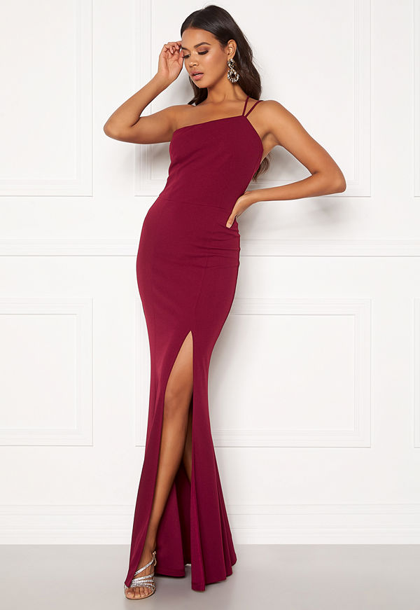 Bubbleroom Lilith one shoulder gown Wine-red