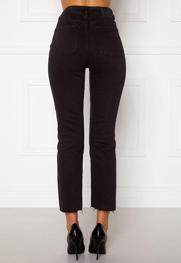 Only Emily HW Raw Ank Jeans Black Denim