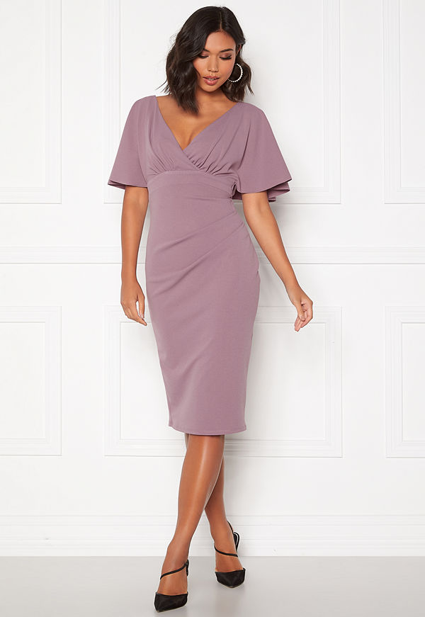 Goddiva Flutter Tie Waist Dress Dusty Lavendel