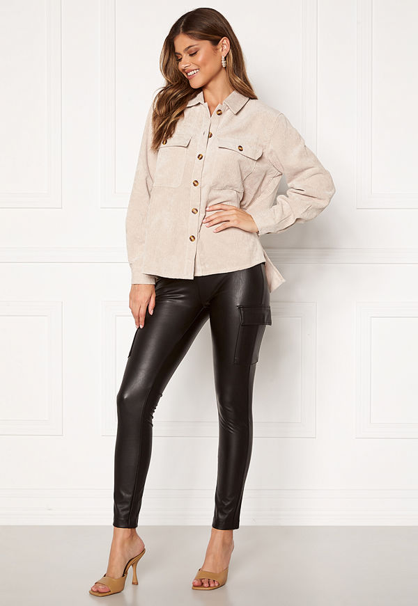 Only Miri Faux Leather Cargo Legging Black