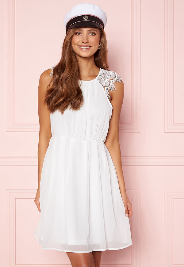Ax Paris Lace Trim Skater Dress White