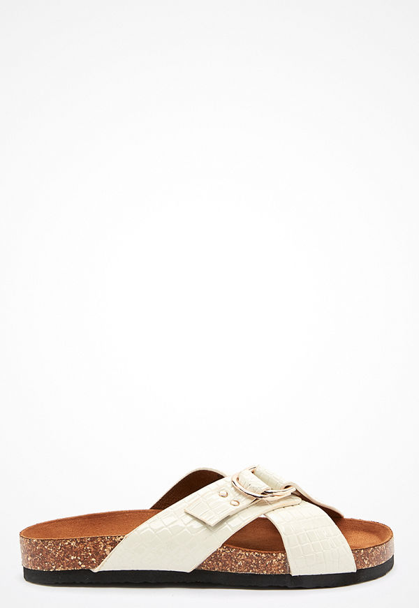Only Maxi PU Croc Crossover Sandal white
