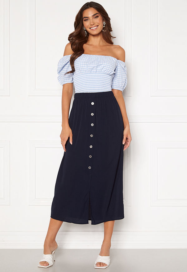 Only Nova Lux Button Skirt Solid Night Sky