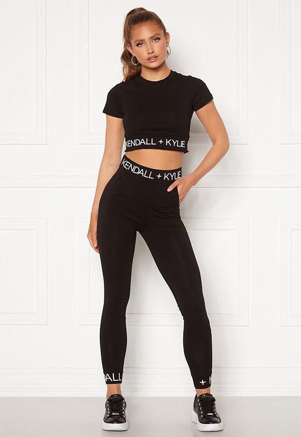 Kendall + Kylie K&K Logo Waist Leggings Black