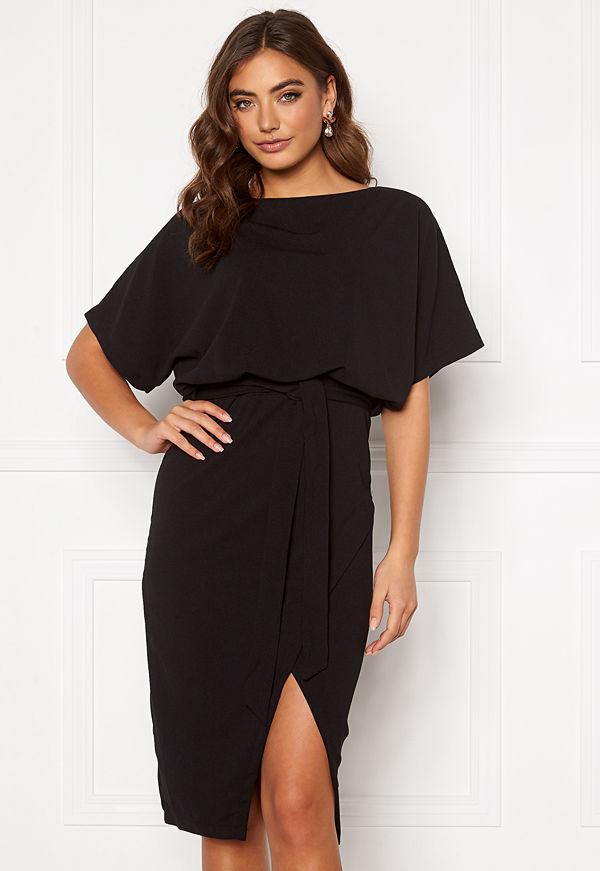 Ax Paris Tie Waist Midi Dress Black