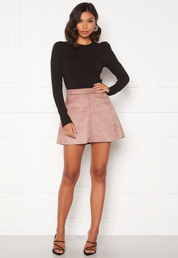Only Linea Faux Suede Bonded Skirt Burlwood