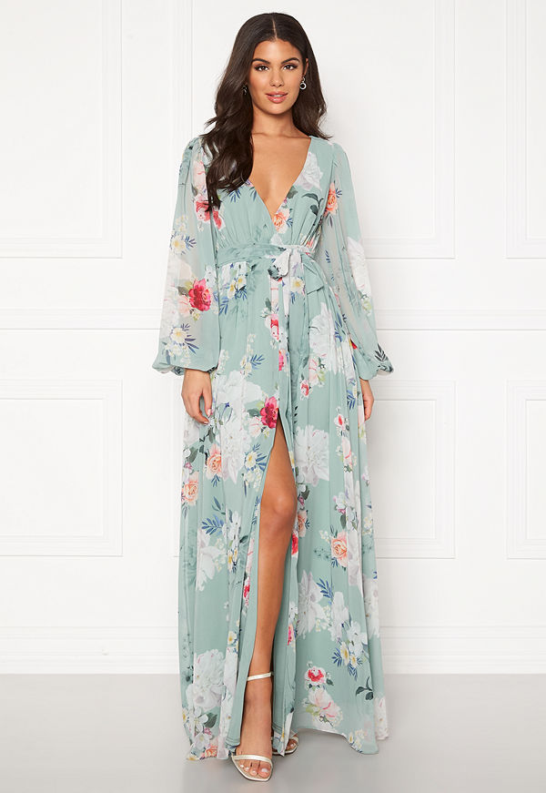 Goddiva Floral Chiffon Maxi Dress Sage Green Floral