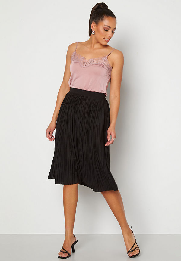 Vila Pliss Midi Skirt Black