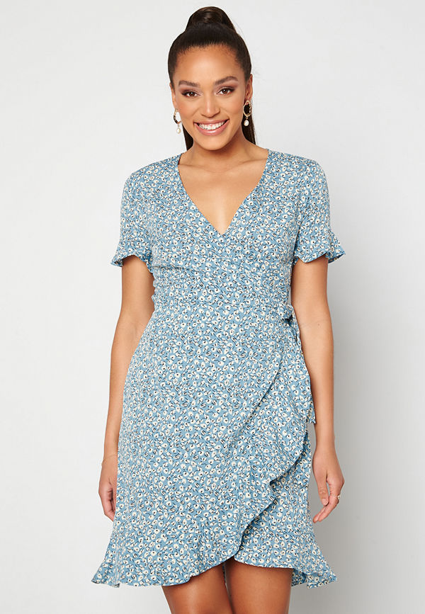 Only Olivia S/S Wrap Dress Dusk Blue / Flower