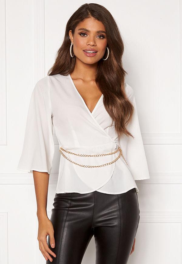 Chiara Forthi Aliona wrap blouse Light beige