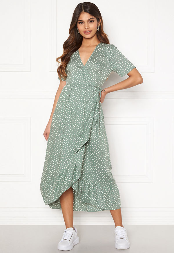 Happy Holly Evie wrap dress Dusty green / Offwhite