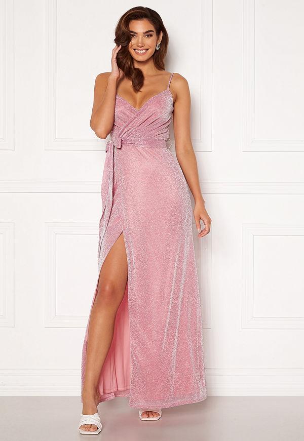 Goddiva Glitter Wrap Front Maxi Dress Pink