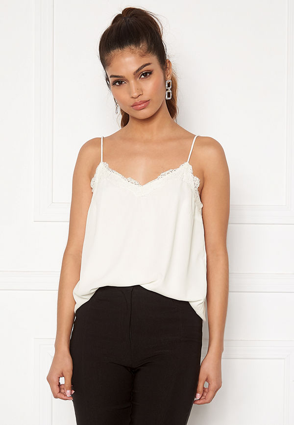 Pieces Pamela Lace Slip Top Cloud Dancer