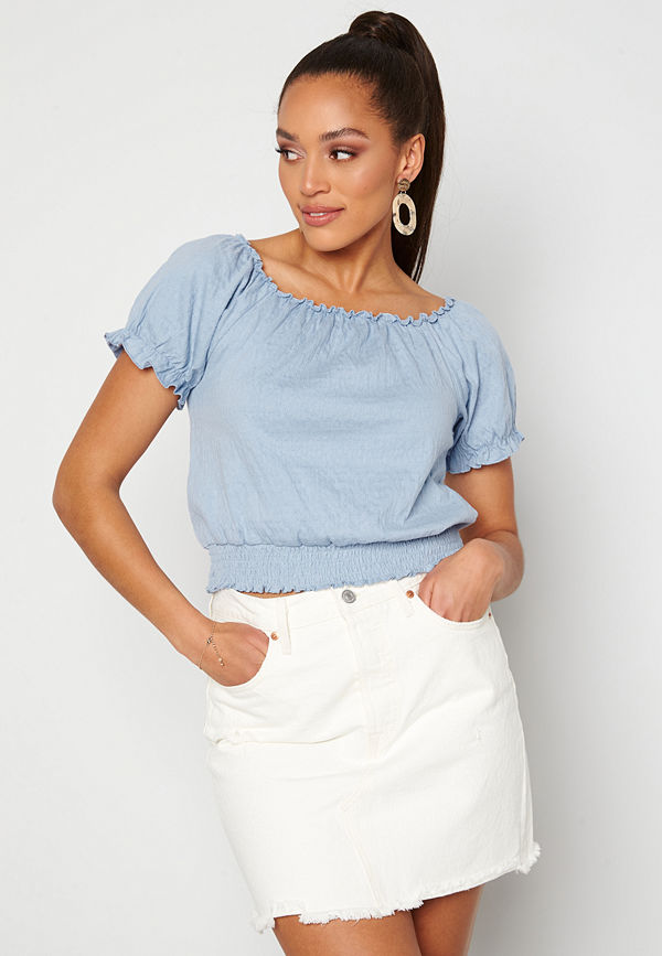 Pieces Leaf Ss Cropped Smock Top Kentucky Blue