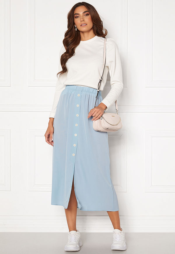 Only Nova Lux Button Skirt Solid Blue Fog