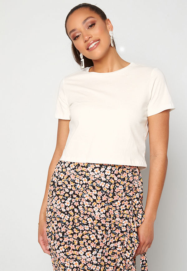Trendyol Eco Cotton Cropped T-Shirt Ecru