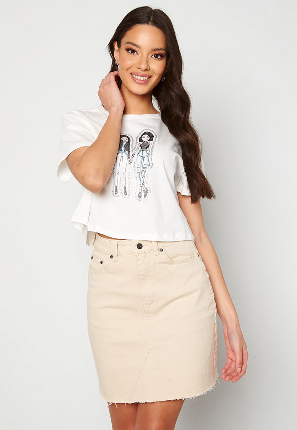 Kendall + Kylie K&K Bitmoji Cropped T-Shirt White