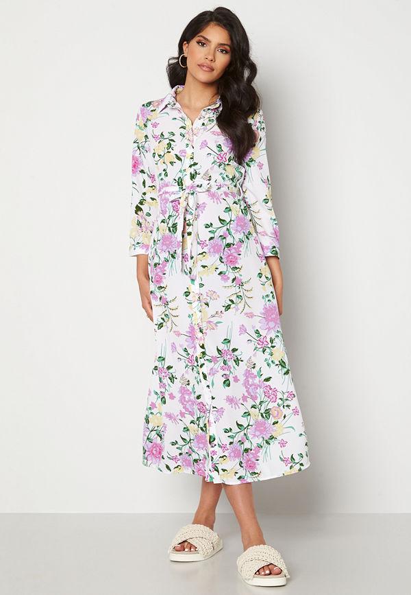Pieces April 3/4 Ankle Dress Bright White AOP Flo