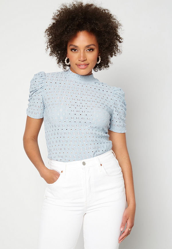 Pieces Christy SS Top Blue Fog