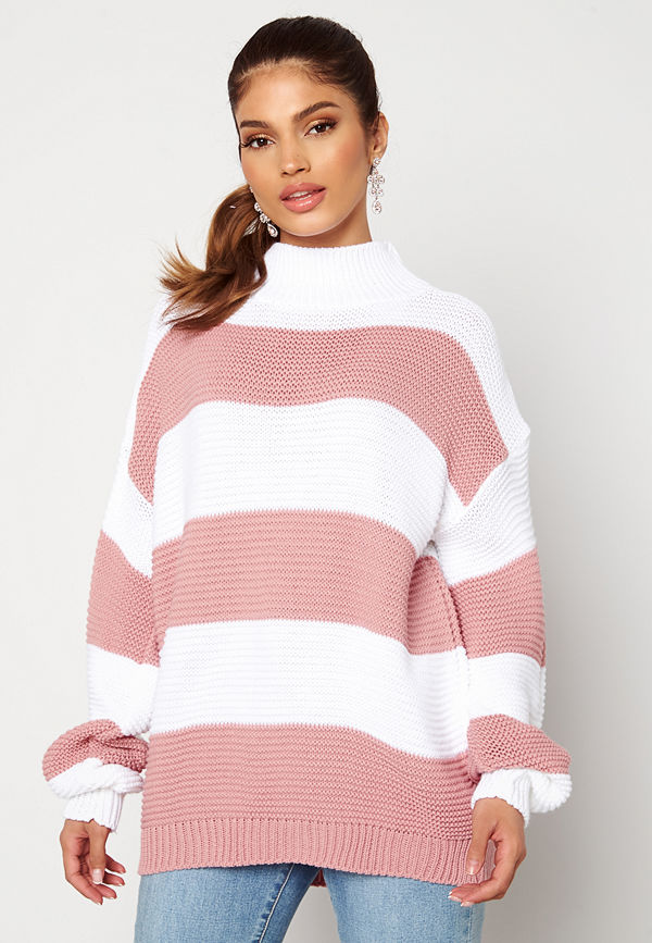 Ax Paris Stripe Knitted Jumper Pink