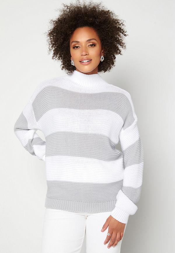 Ax Paris Stripe Knitted Jumper Grey