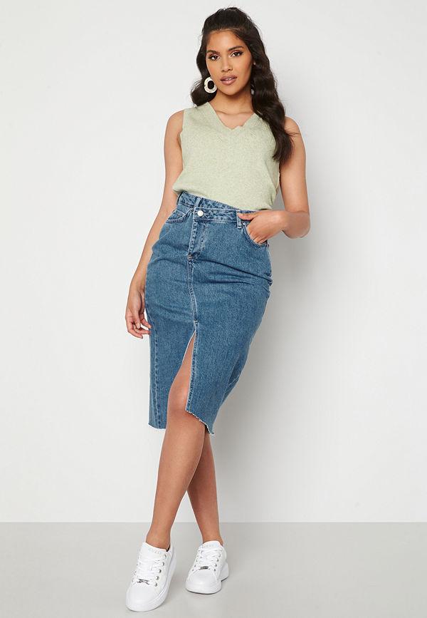 Trendyol Denim Midi Skirt Blue