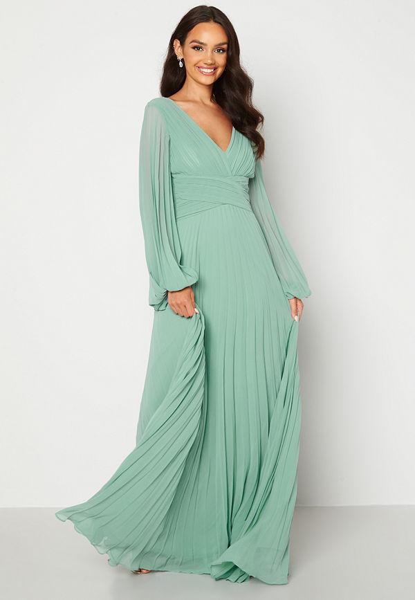 Goddiva Pleated Balloon Sleeve Maxi Dress Sage Green