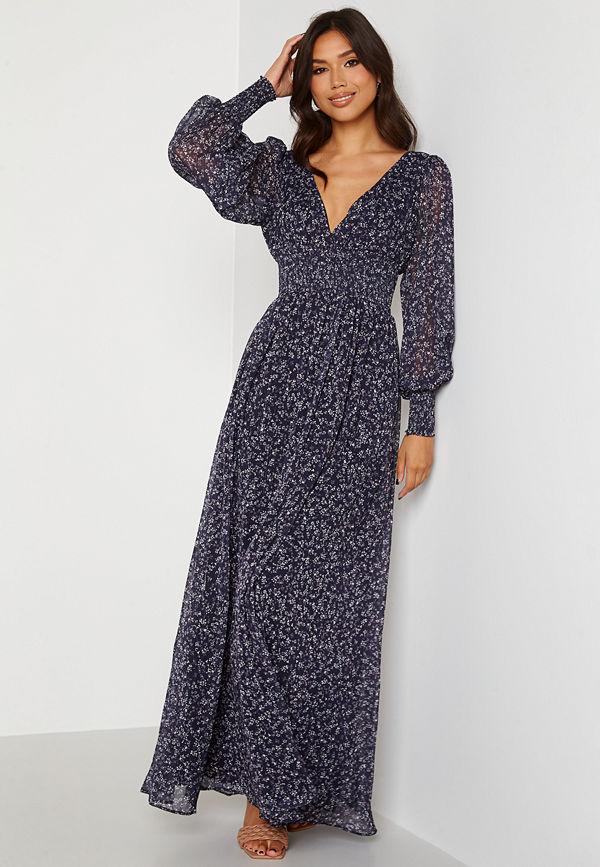 Goddiva Ditsy Long Sleeve Shirred Maxi Dress Navy