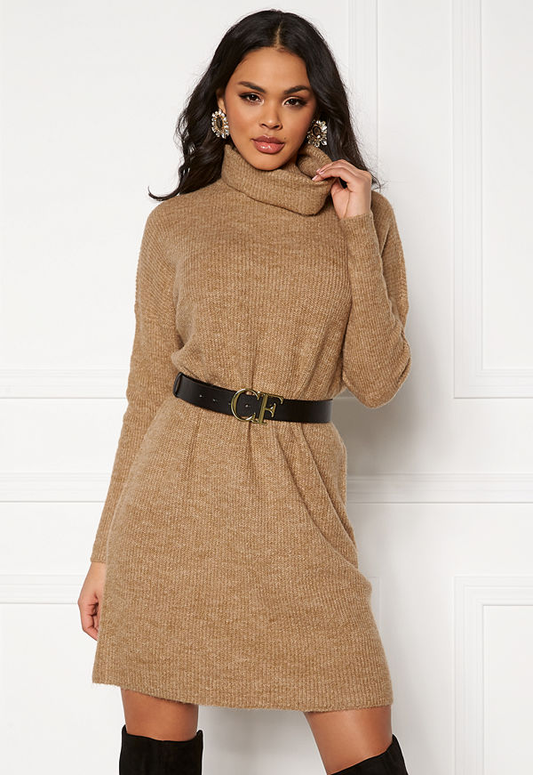 Only Jana L/S Cowlnck Dress Indian Tan