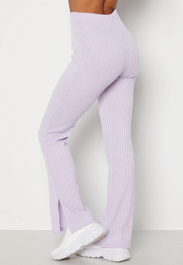Bubbleroom omönstrade byxor Lesley rib trousers Light lilac