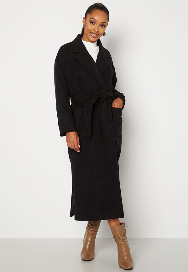 Bubbleroom Paloma Belted Coat Black