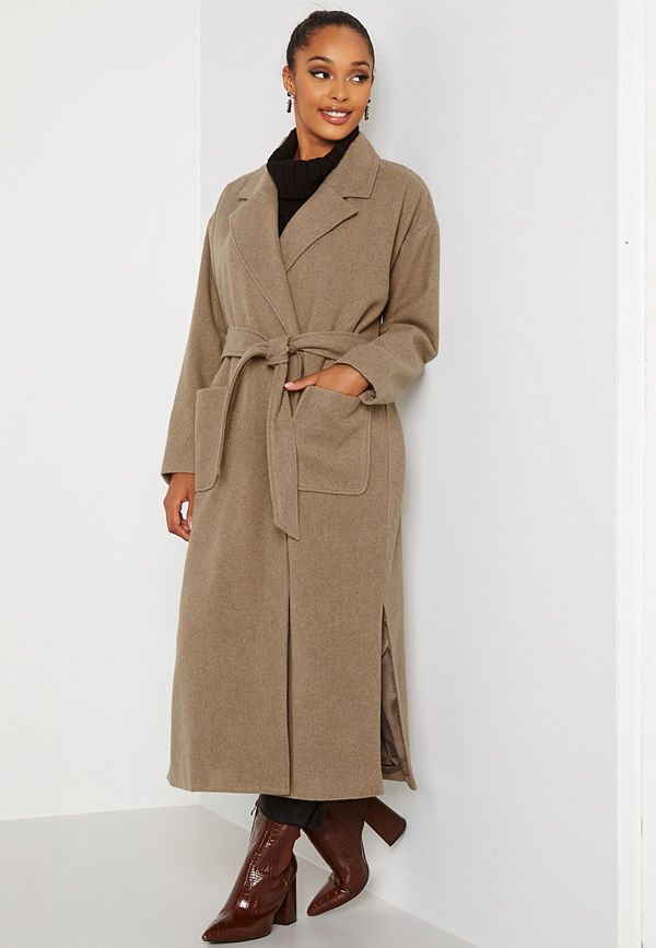 Bubbleroom Paloma Belted Coat Brown