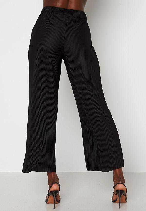 Bubbleroom svarta byxor Lola pleated cropped trousers Black